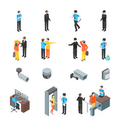 Security system people and equipment 3d icons set vector