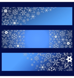 set banners with decorative 3d snowflakes vector image