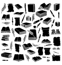 Set books and pens vector