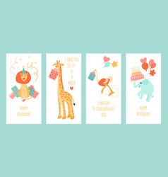 set greeting card templates with funny animals vector image