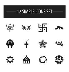 Set of 12 editable faith icons includes symbols vector
