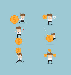 set of businessman and money coin vector image