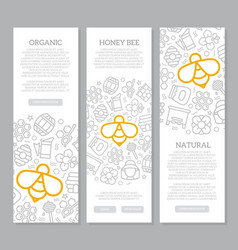 Set of three digital honey and bee vertical vector