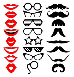 set photobooth props mustache eyeglasses lips vector image