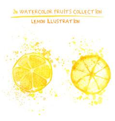set watercolor lemon vector image