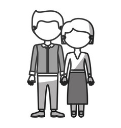 Silhouette monochrome shading faceless couple vector