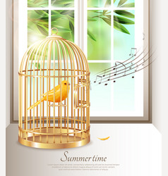 Singing canary in summer time vector