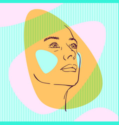 Sketch womans head looking up on side vector