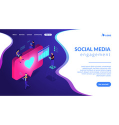 social media engagement isometric 3d landing page vector image