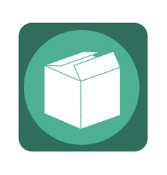 square emblem with open packing box vector image