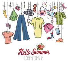 Summer fashionwoman colorful vacation wear vector