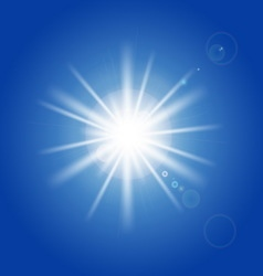 Sun rays and light effects on blue sky vector