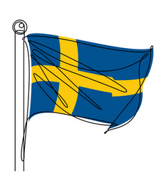 sweden flag one continuous line abstract icon vector image