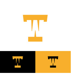 T and w letter logo monogram hidden initi vector