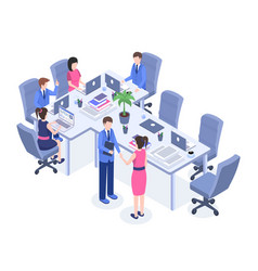 Teamwork color isometric vector
