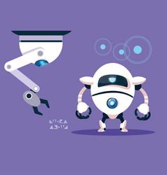 technology robot cartoon over purple background vector image