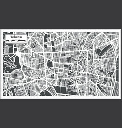 Tehran iran city map in retro style outline map vector
