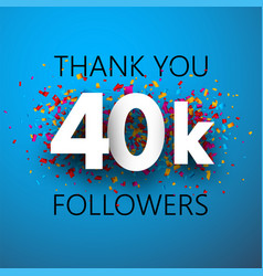 Thank you 40k followers card with colorful vector
