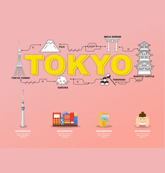 tokyo landmarks icons in japan for traveling vector image