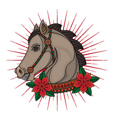 Traditional horse head tattoo vector