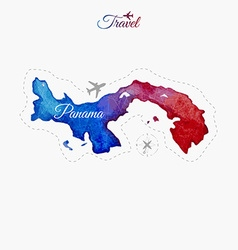 Travel around the world Panama Watercolor map vector