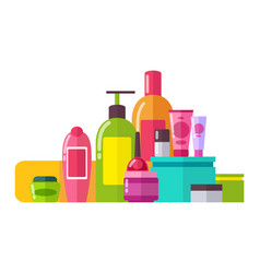 Tubes and lotions poster set vector