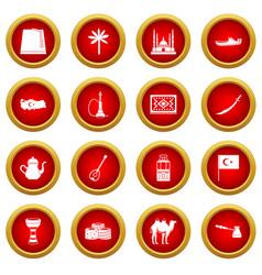 Turkey travel icon red circle set vector