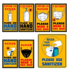 use hand sanitizer wear face mask emblem vector image
