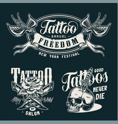 vintage tattoo studio monochrome badges vector image
