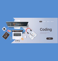 web site design development program coding concept vector image