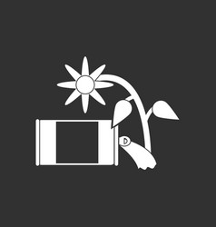 White icon on black background canned and flower vector