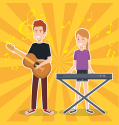 Woman playing synthesizer and man guitar vector