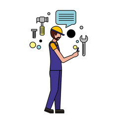 worker man using mobile media icons vector image