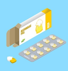 Beer pills in pack Alcohol tablets Pills in box vector image vector image