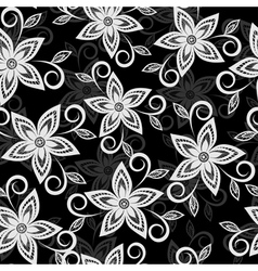 black and white floral background lace flowers vector image vector image