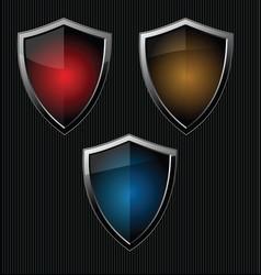 black shield retro vintage black design collection vector image vector image