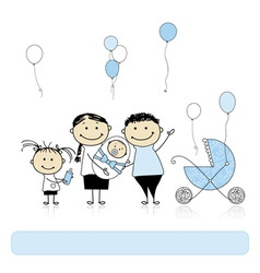 Happy birthday parents with children newborn baby vector image vector image