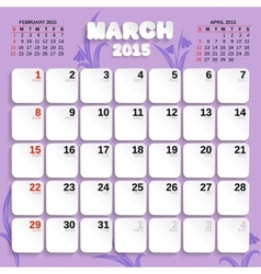 March Month Calendar 2015 vector image vector image