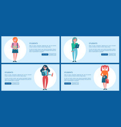 student girls set of posters with push buttons vector image