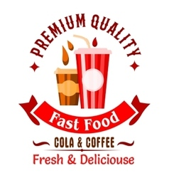 Takeaway fast food coffee and soda drinks icon vector image