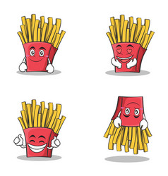 collection set french fries cartoon character vector image vector image