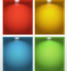 Illuminated empty book shelves vector image