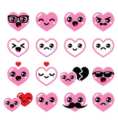 Kawaii hearts valentines day cute icons vector