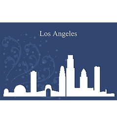 Los Angeles city skyline on blue background vector image
