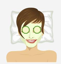 woman having revitalising facial treatment vector image
