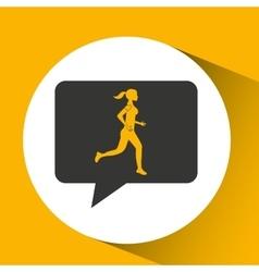 woman runner sport emblem laurel branch vector image vector image