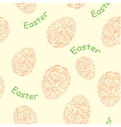 yellow seamless pattern with easter eggs vector image vector image