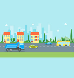cartoon urban landscape with road and transport vector image vector image