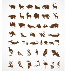 collection of animal icons vector image vector image