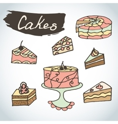 Hand drawn sweet cakes set Bakery elements vector image vector image